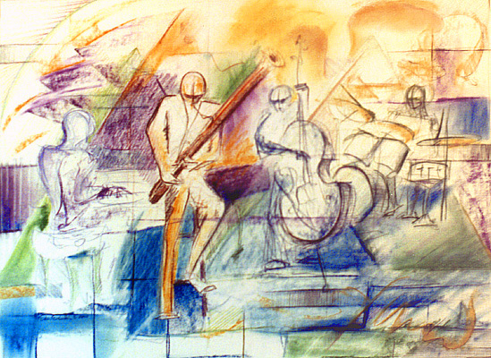Abstract art depiction of ensemble with bassoonist as focal point
